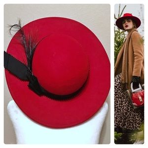 Vintage Lancaster Wool Hat with feather 60's 70's
